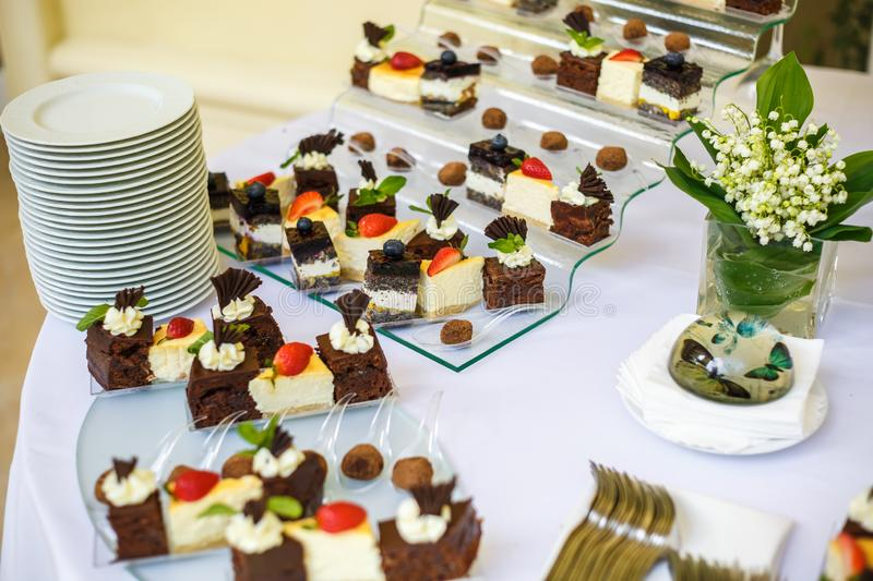 Catering. Off-site food. Buffet table with various sweet chocolate canapes, sandwiches and snacks with curd, strawberries, cheese stock photography