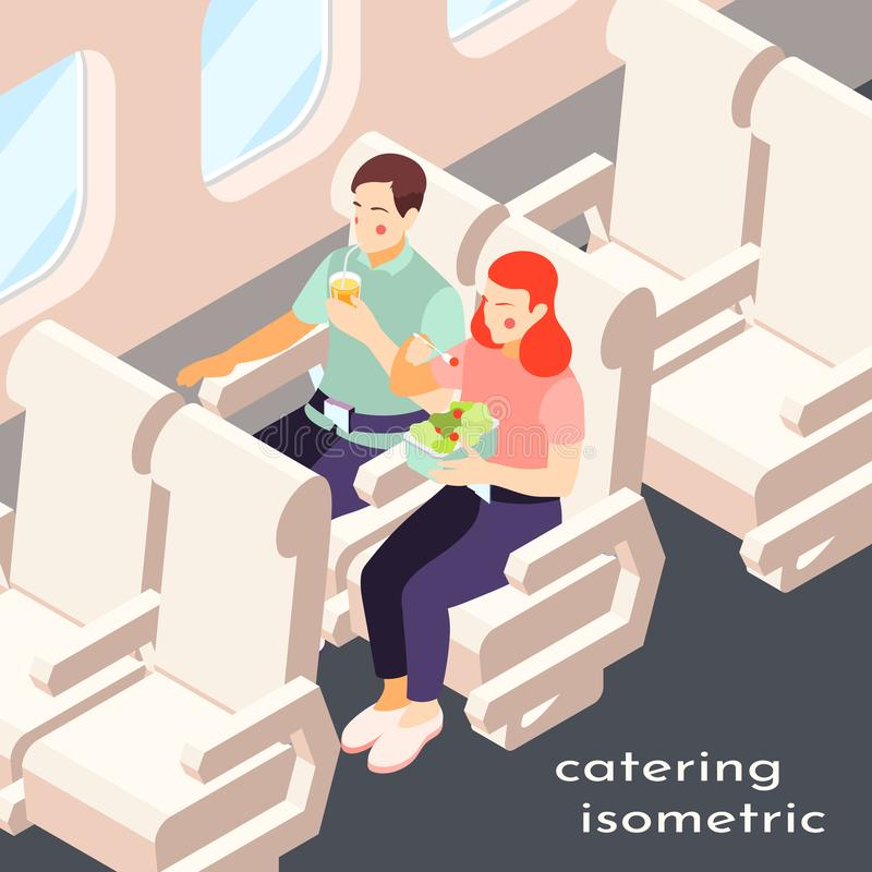 Catering In Plane Isometric Composition royalty free illustration