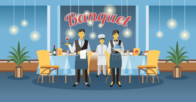 Catering Service and Banquet. Vector Illustration. vector illustration