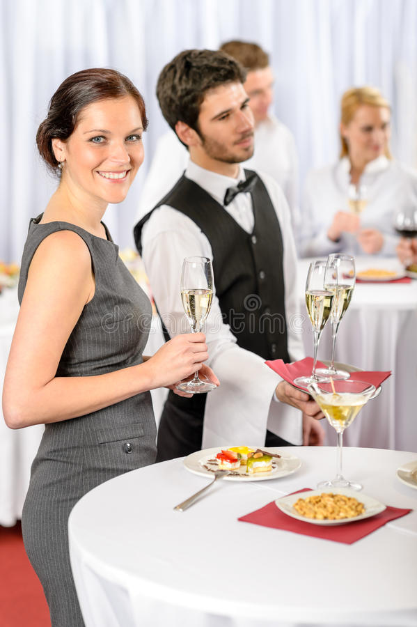 Catering service at company event offer champagne royalty free stock images