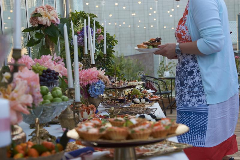 Catering service. Restaurant table with buffet food stock photography