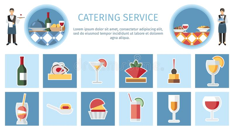 Catering Service Web Page Flat Vector Template stock illustration