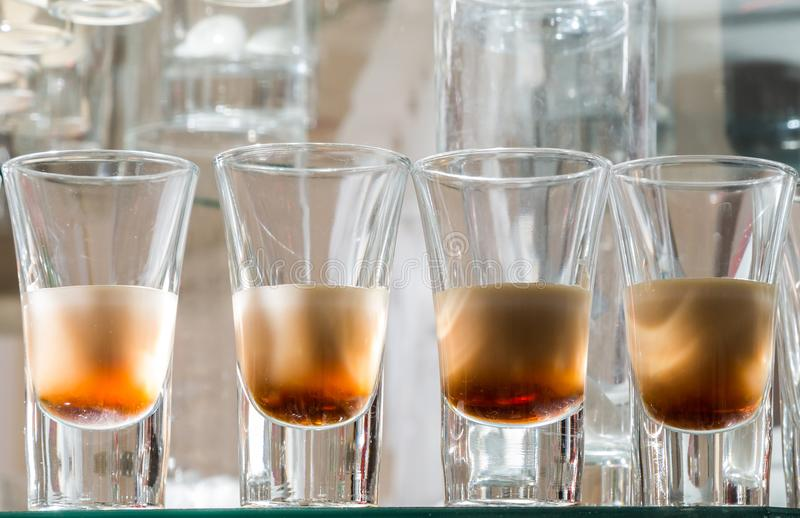 Catering services. Celebration. glasses with alcohol placed on the glass stock image