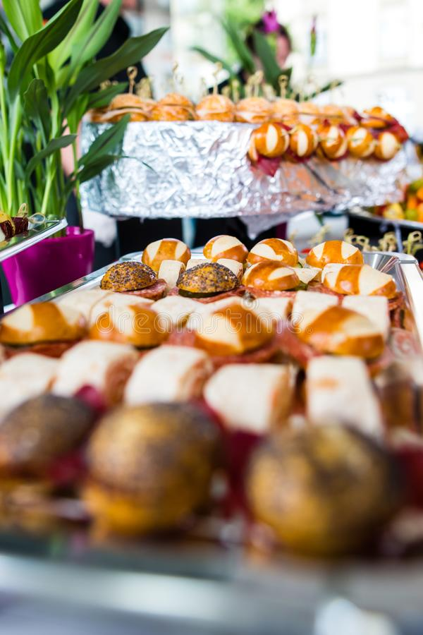 Catering snacks, appetizers or finger food stock photos
