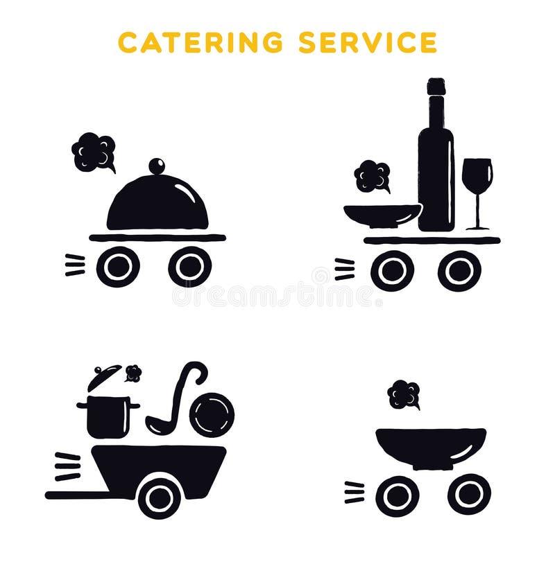 Catering usługa Set czarny logo na białym tle Ilustracja kulinarni naczynia ilustracja wektor