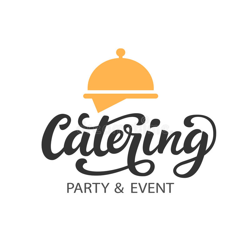 Catering vector logo badge with hand written modern calligraphy royalty free illustration