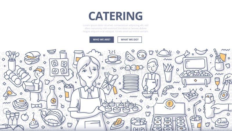 Cateringu Doodle pojęcie ilustracja wektor
