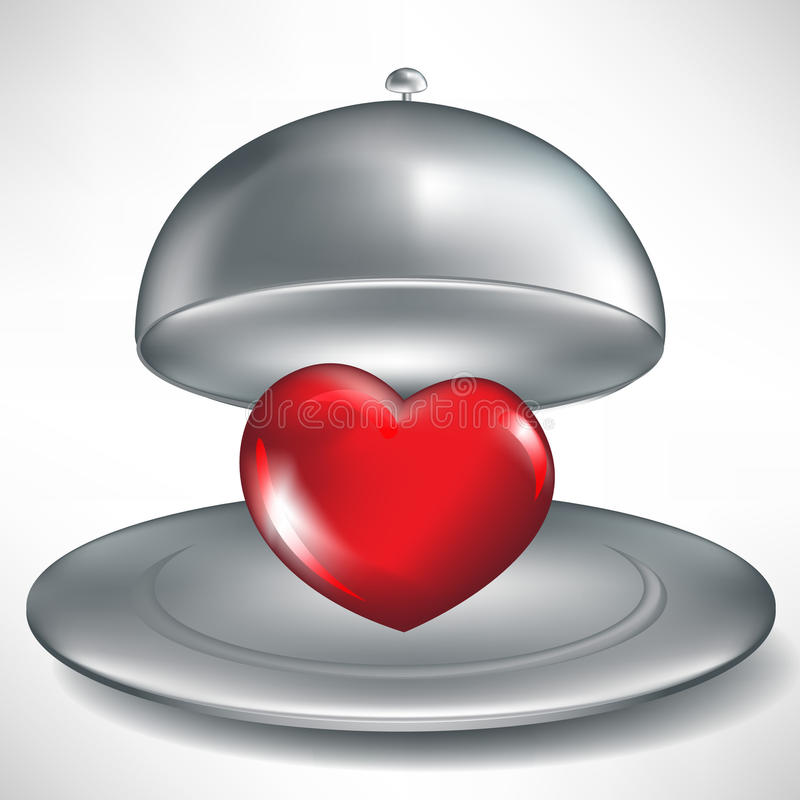 cateringu serca otwarta czerwona taca royalty ilustracja