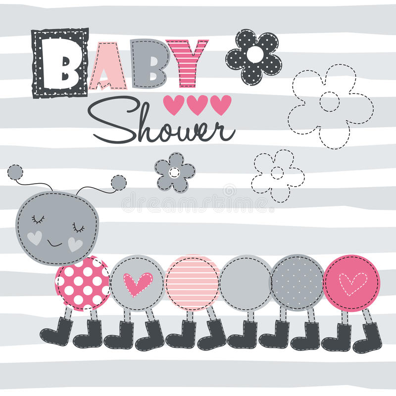 Caterpillar baby shower vector illustration royalty free illustration