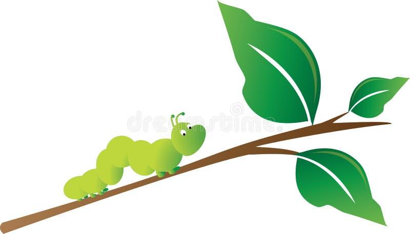 Caterpillar on a branch royalty free illustration