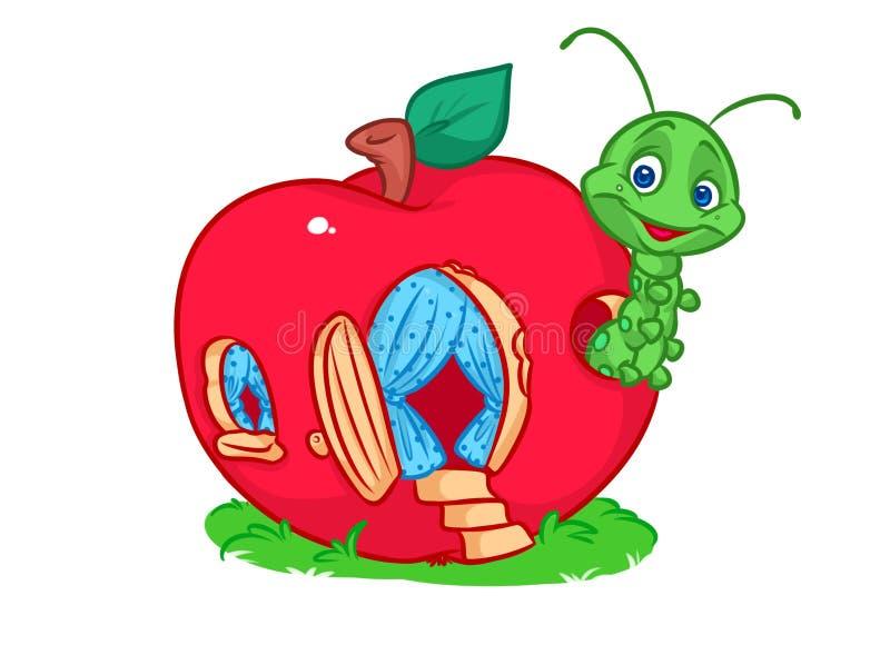 Caterpillar bringen Apfel unter stock abbildung