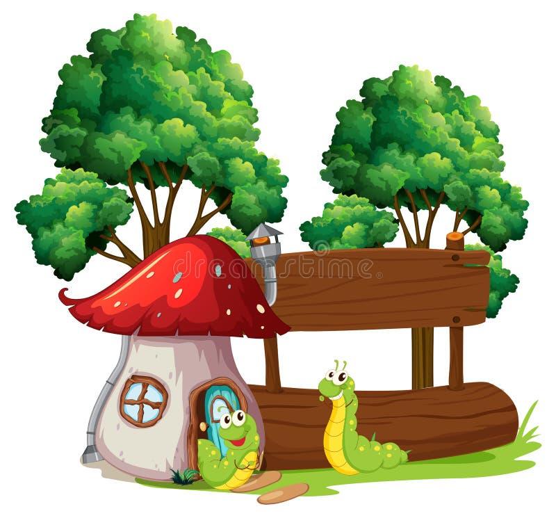 Caterpillar com bandeira de madeira ilustração do vetor
