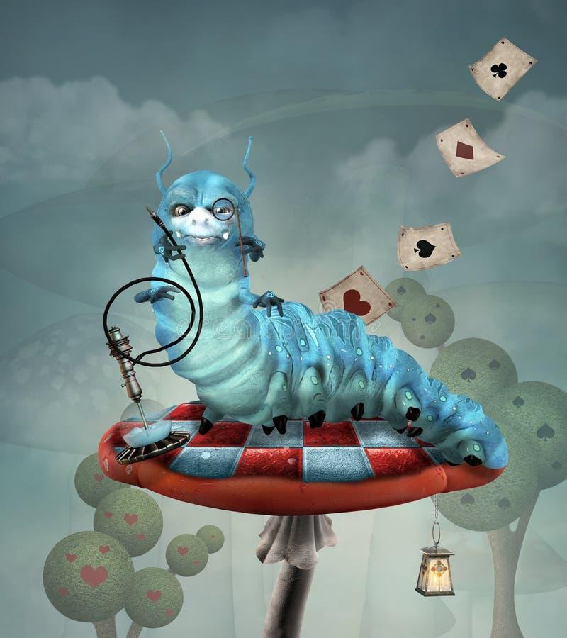 Caterpillar com cachimbo de água em um cogumelo ilustração do vetor