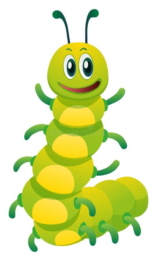 Caterpillar com cara feliz ilustração do vetor
