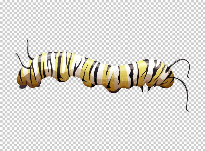 Caterpillar com o listrado amarelo e preto ilustração stock