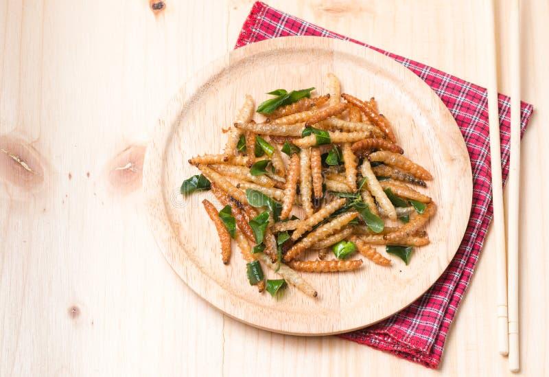 Caterpillar de bambu fritado em wooddish imagens de stock royalty free
