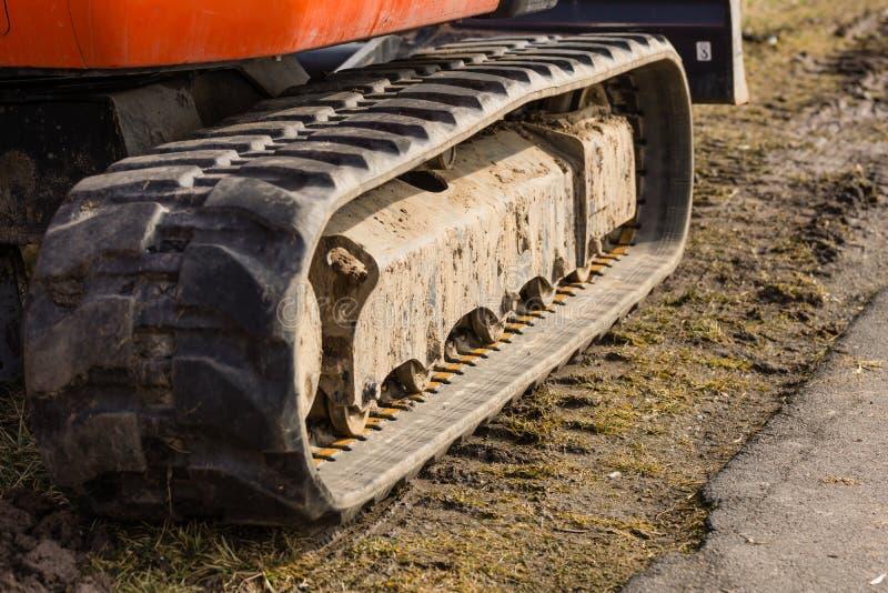 Caterpillar drive. Of an excavator stock images