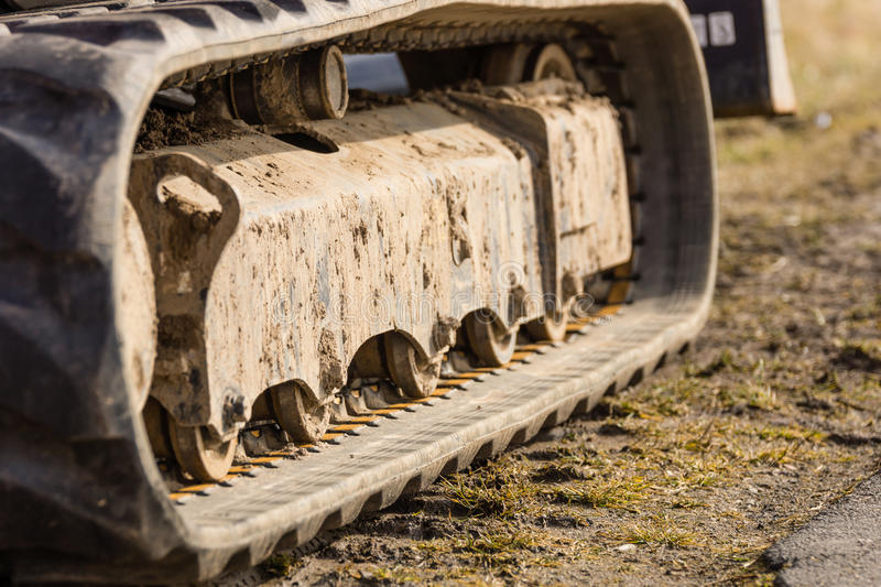 Caterpillar drive. Of an excavator royalty free stock photography