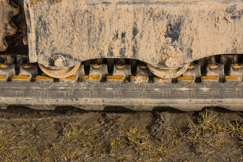 Caterpillar drive. Of an excavator royalty free stock photos