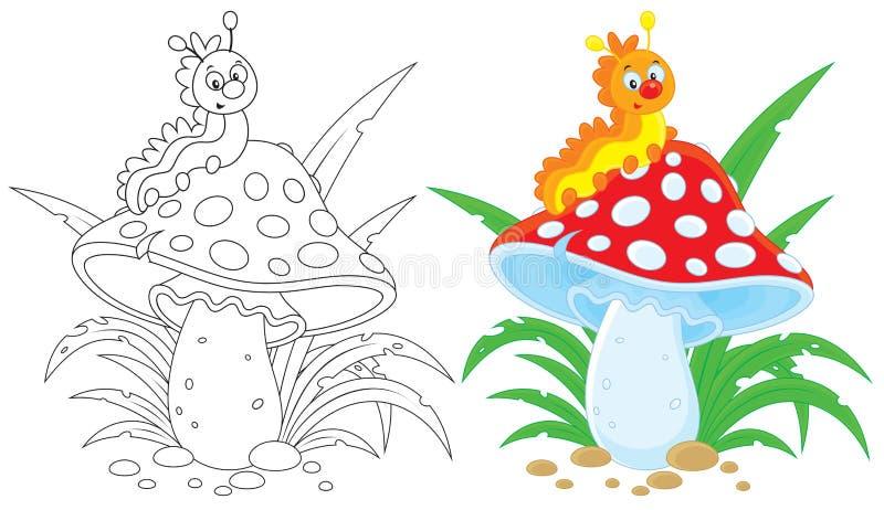 Caterpillar e agaric de mosca ilustração do vetor