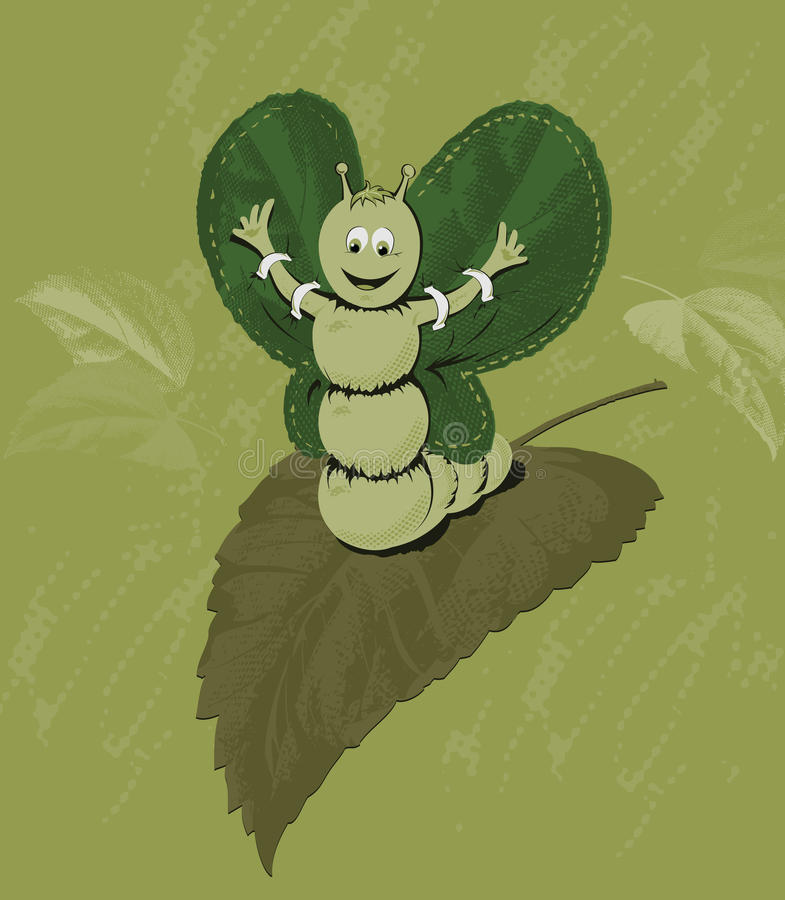 Caterpillar eager to fly royalty free illustration