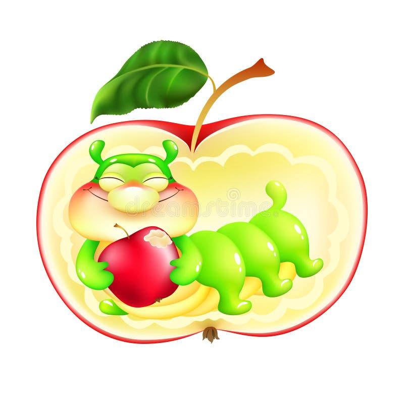 Caterpillar in einem roten Apfel mit einem Apfel lizenzfreie abbildung
