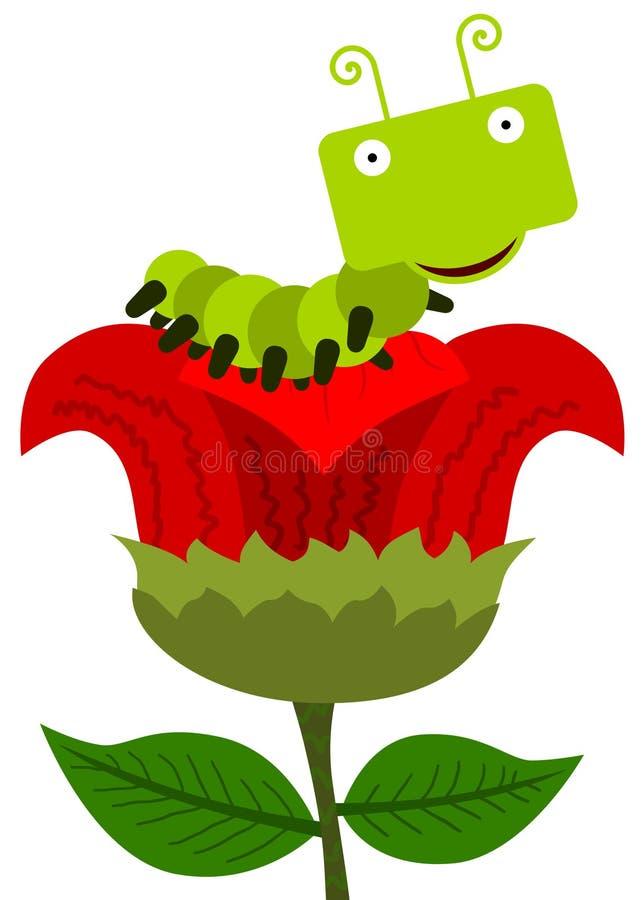 Caterpillar floresce ilustração royalty free