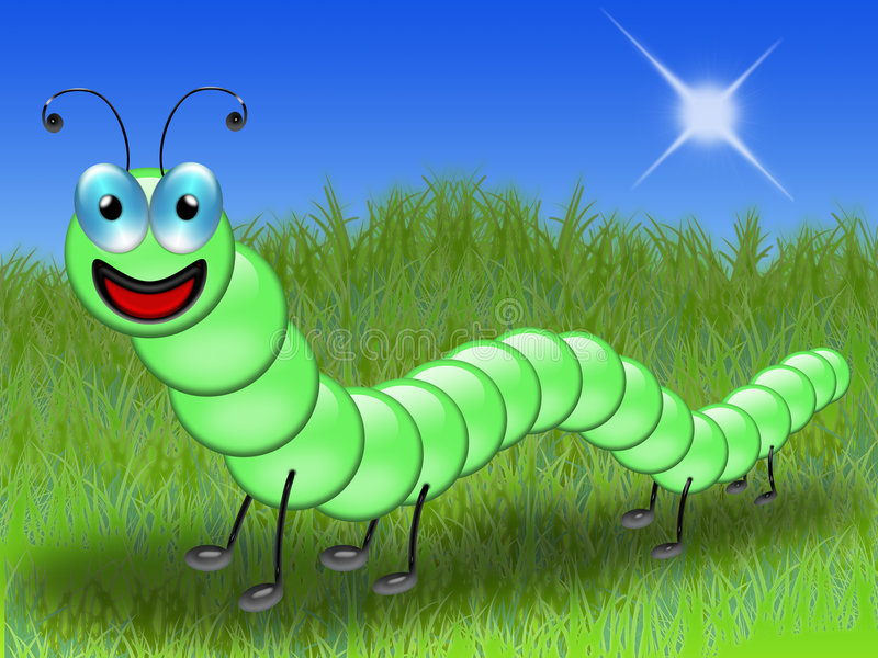 Caterpillar in the grass royalty free illustration