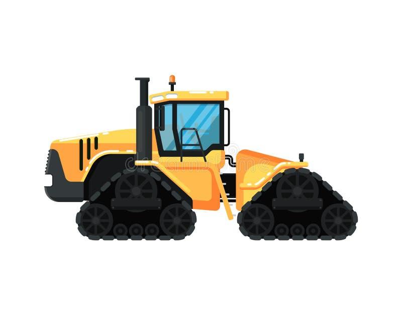Caterpillar modern tractorillustration. Caterpillar agriculture tractor isolatedillustration. Rural industrial farm equipment machinery, comercial transport royalty free illustration