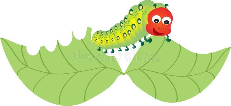 Caterpillar munching a leaf. A cartoon caterpillar munching on a leaf stock illustration