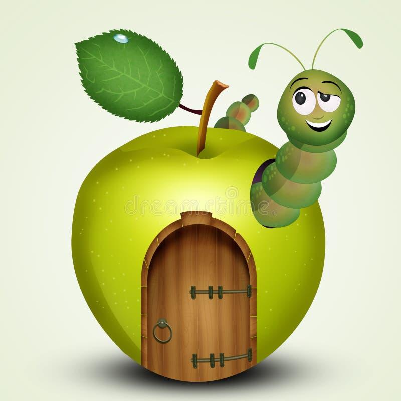 Caterpillar na casa em uma maçã ilustração royalty free