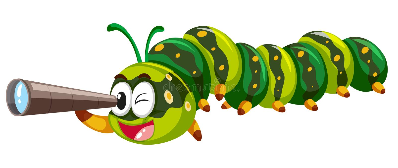Caterpillar que olha através do telescópio ilustração royalty free