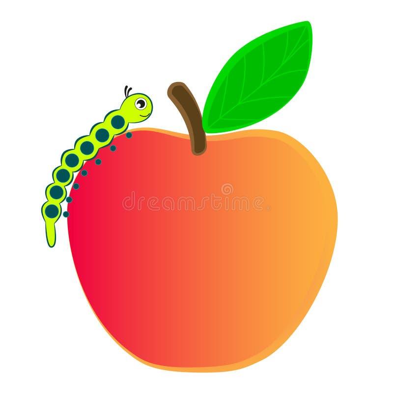 Caterpillar que rasteja em uma maçã madura ilustração royalty free