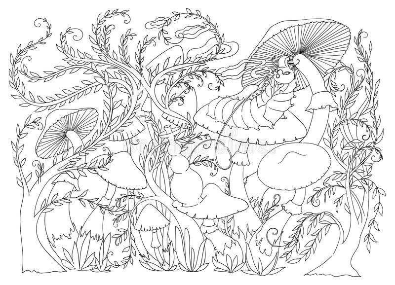 Caterpillar smokes a hookah on a mushroom. Fairytale Wonderland scenery. vector illustration