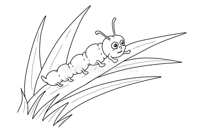 Caterpillar tecknad film som färgar sidan royaltyfri illustrationer
