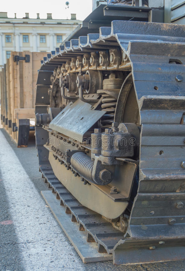 Caterpillar tractor mechanism, close up. royalty free stock photo