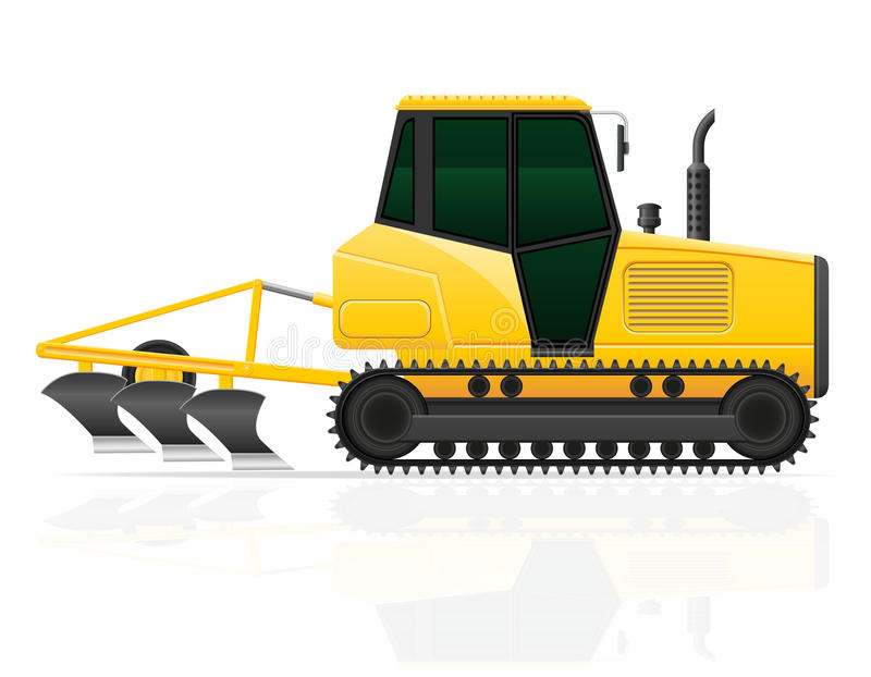 Caterpillar tractor with plow vector illustration. On white background vector illustration