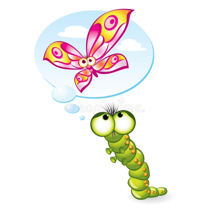 Caterpillar wants to become a butterfly royalty free illustration