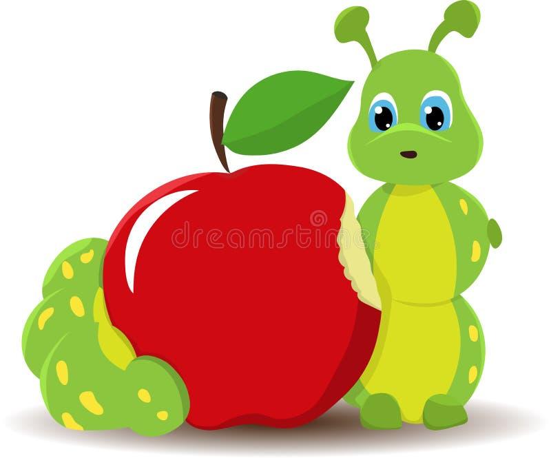 Caterpillar worm con la mela rossa Illustrazione divertente del bambino Isolato su priorità bassa bianca illustrazione di stock