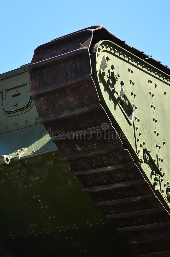 Caterpillars of the green British tank of the Russian Army Wrangel in Kharkov against the blue sk. Y royalty free stock photos