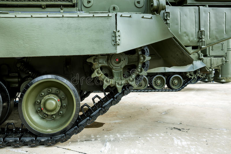 Caterpillars of a military tank royalty free stock images