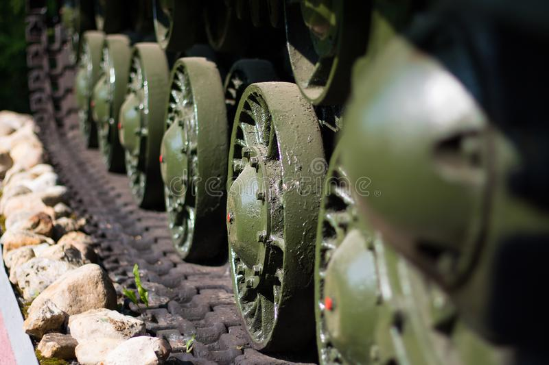 Caterpillars of tank military machine. Selective focus royalty free stock images