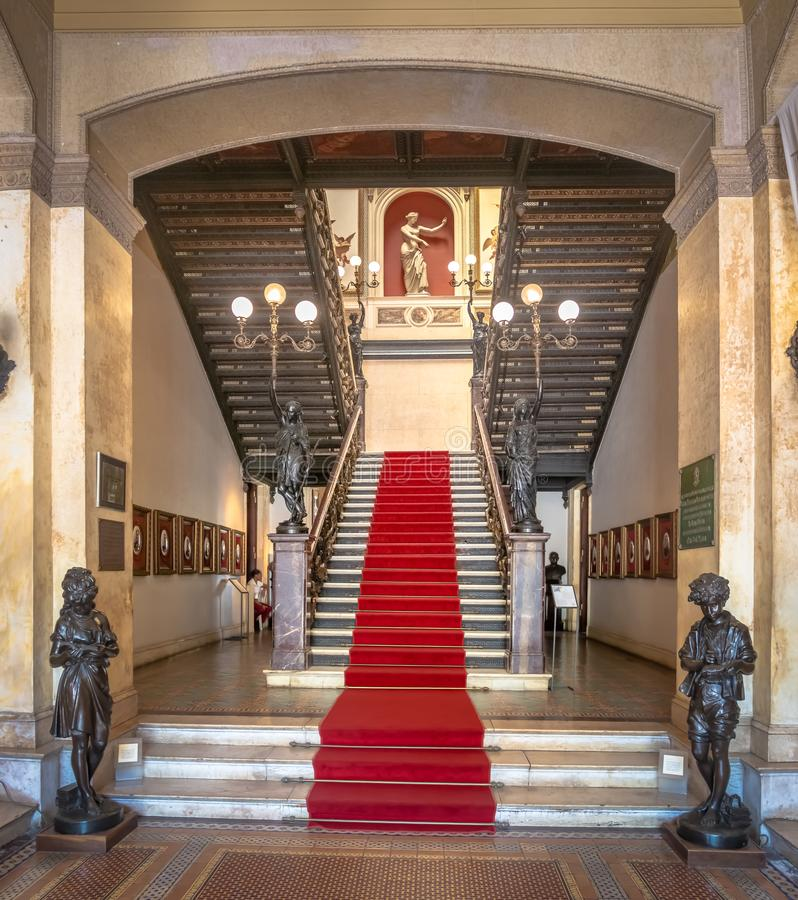 Catete Palace main Staircase, the former presidential palace now houses the Republic Museum - Rio de Janeiro, Brazil. Rio de Janeiro, Brazil - Oct 24, 2017 stock photography