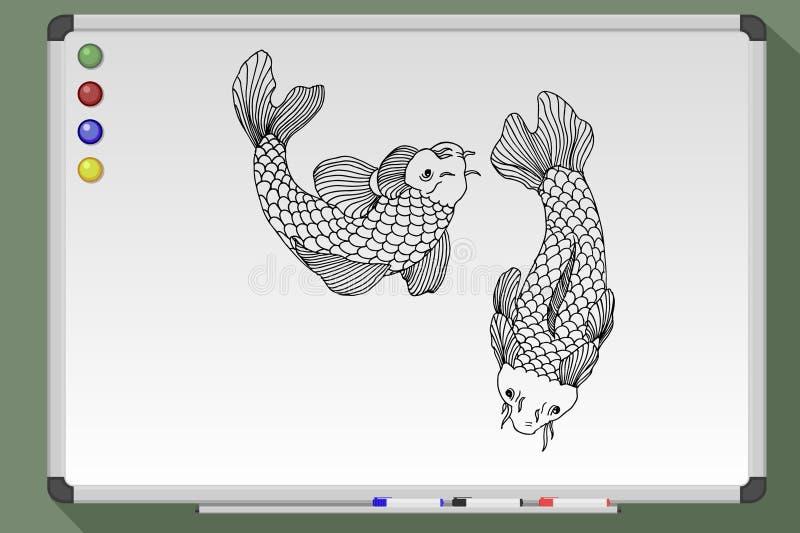 catfish Disegno in bianco e nero di lavagna illustrazione di stock