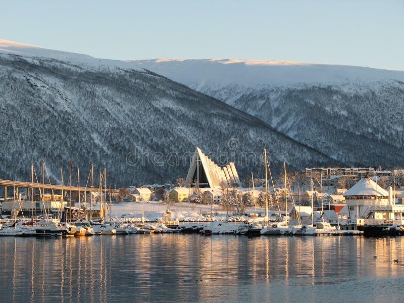 Cathédrale arctique Tromsø photographie stock libre de droits