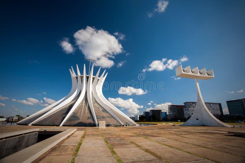 Cathédrale brésilienne au district fédéral de Brasilia images libres de droits