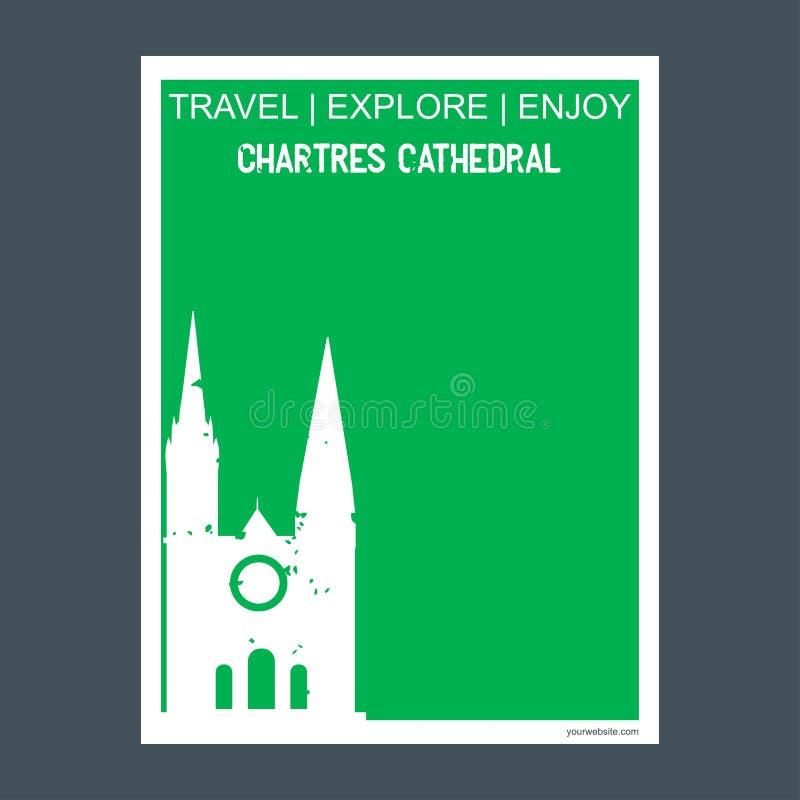 Cathédrale brochure F de point de repère de monument de Chartres, France de Chartres illustration libre de droits