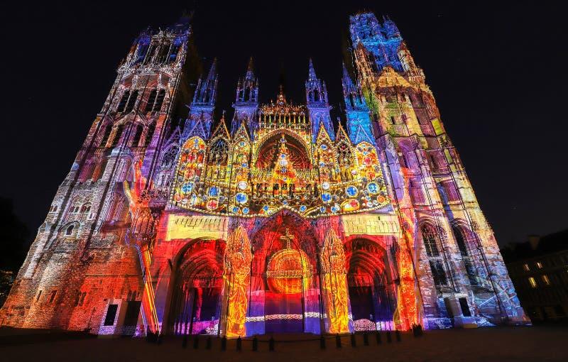 Cathédrale célèbre de Notre-Dame De Rouen au jour ensoleillé, Rouen, France image stock