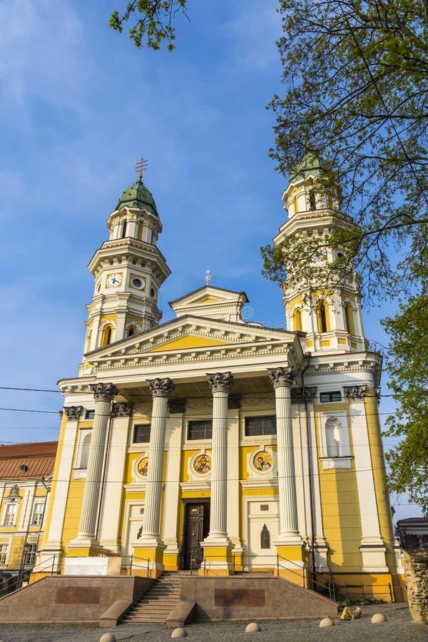 Cathédrale catholique grecque dans la ville d'Uzhhorod, Ukraine image stock