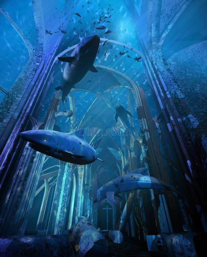 Cathédrale détruite par sous-marin illustration de vecteur